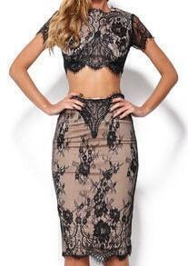 Lace Embroidered Crop Top With Zipper Split Bodycon Black Skirt