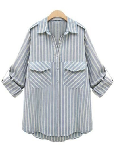 With Pockets Dip Hem Vertical Striped Blouse