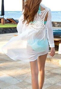 Dip Hem Open Back Long Sleeve Chiffon Blouse