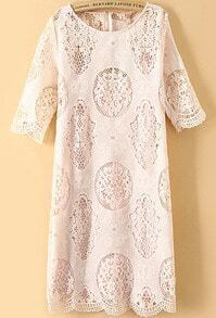 Short Sleeve Lace Crochet Apricot Dress