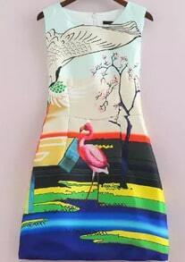 Flamingo Bird Print With Zipper Dress