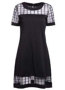 With Organza Plaid Straight Dress