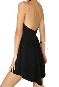 Halter Open Back Pleated Dress