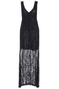 V Neck Sleeveless Lace Dress