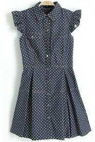 Lapel Polka Dot Pelated Denim Dress
