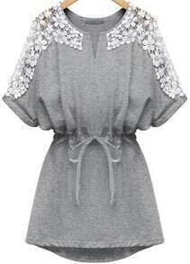 V Neck Bleached Lace Insert With Belt Grey Dolman Dress