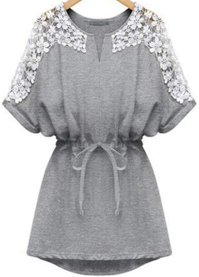 V Neck Bleached Lace Insert With Belt Blouson Grey Dolman Dress