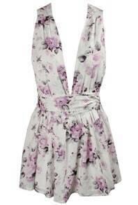 Deep V Neck Open Back Floral Dress