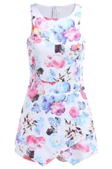 Sleeveless Floral Bodycon White Dress