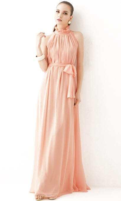Stand Collar Off-shoulder Chiffon Pink Dress