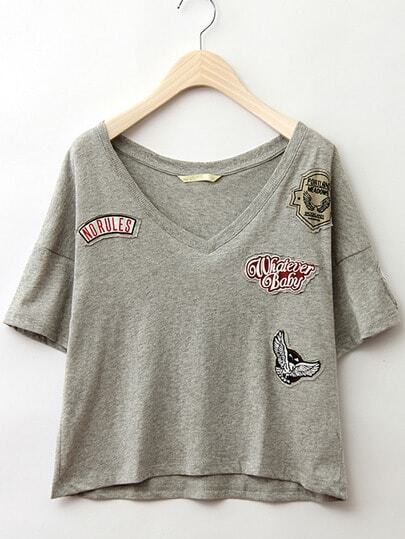 Dropped Shoulder Embroidered Patch Tee