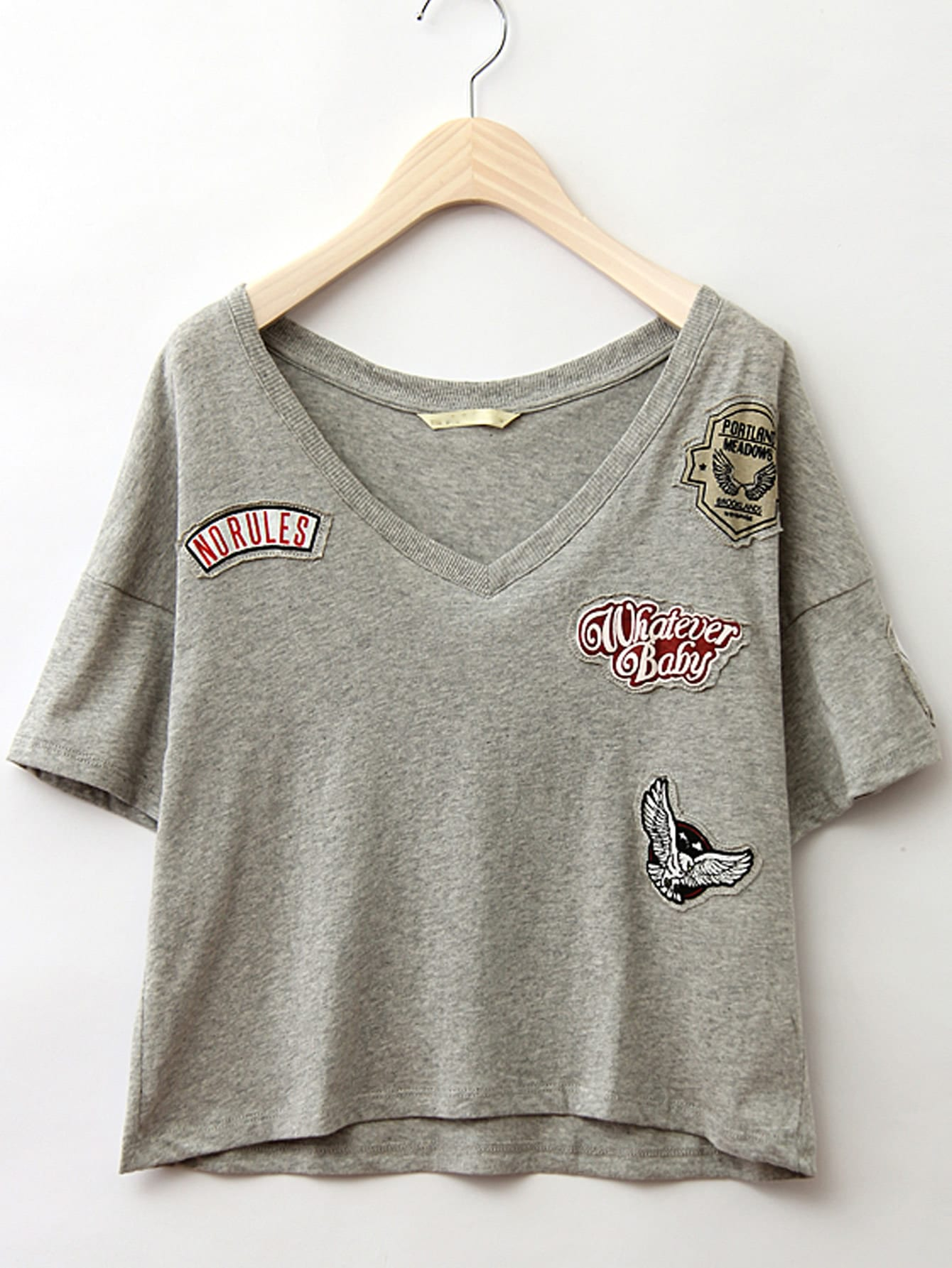 Фото Dropped Shoulder Embroidered Patch Tee. Купить с доставкой