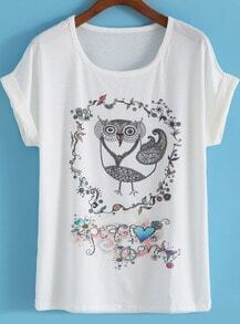 White Short Sleeve Bird Print Loose T-Shirt