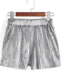 Silver Elastic Waist Pleated Shorts