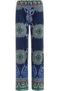 Blue Vintage Floral Straight Pant