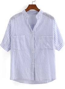 Blue Stand Collar Vertical Stripe Pockets Blouse