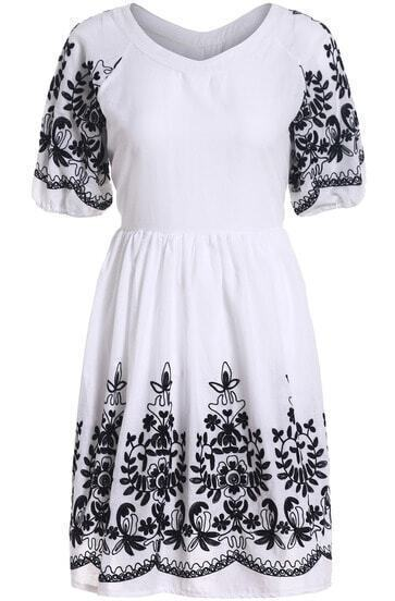 White Short Sleeve Embroidered Slim Dress