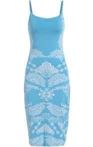 Blue Spaghetti Strap Floral Slim Dress