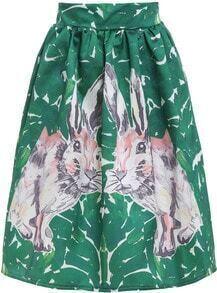Green Rabbit Print Flare Skirt