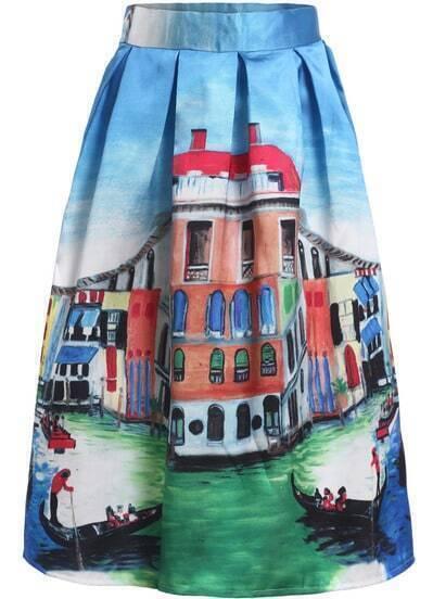 Blue House Print Flare Skirt
