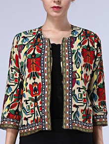 Multicolor Round Neck Tribal Print Crop Outerwear