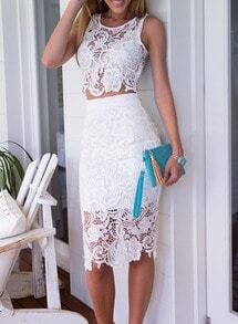 White Sleeveless Floral Crochet Top With Lace Skirt