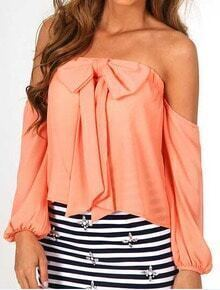 Orange Off the Shoulder Bow Chiffon Blouse