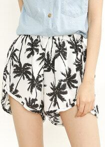 White Elastic Waist Trees Print Shorts
