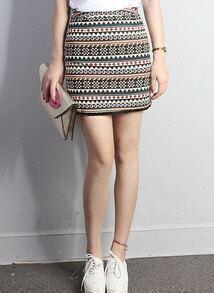 Black Tribal Print Tassel Bodycon Skirt