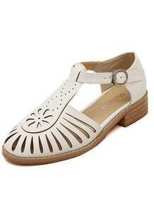 White Buckle Hollow Sandals
