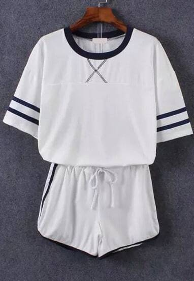 Short Sleeve Striped Top With Drawstring White Shorts