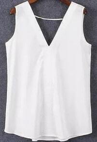 V Neck White Tank Top