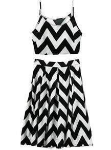 Spaghetti Strap Zigzag Crop With Pleated Skirt