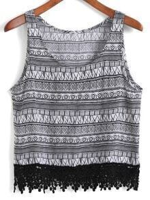 Geometric Print Lace Hem Tank Top