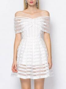 Off The Shoulder Bodice Striped Organza Dress