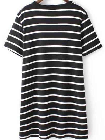 Striped Long Black T-shirt