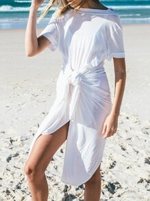 White Short Sleeve Backless Asymmetric Dress