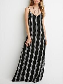 Black Spaghetti Strap Geometric Print Maxi Dress