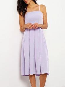 Purple Strapless Pleated Dress