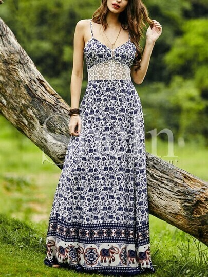 Navy Spaghetti Strap With Lace Vintage Print Maxi Dress pictures