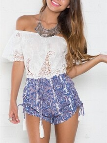 White Off The Shoulder Vintage Print Playsuit