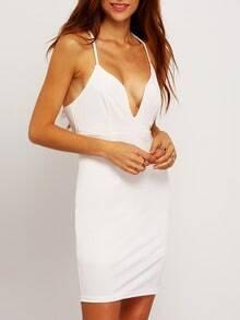 White Spaghetti Strap Deep V Neck Bodycon Dress