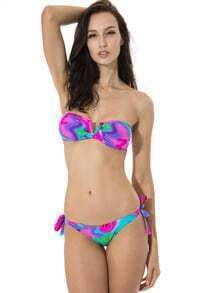 Multicolor Abstract Print V Wire Bandeau Top Bikini Set