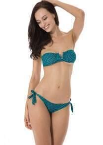 Green Plaid V Wire Strapless Bandeau Bikini Set