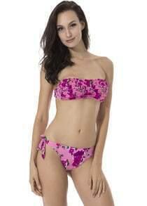Pink Floral Ruffle Bandeau Bikini Set
