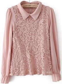 Lapel Lace Pink Blouse