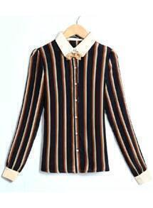 Vertical Stripe Bow Blouse