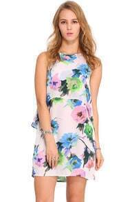 Double-layered Floral Painted Print Dress