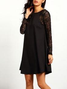 Round Neck Lace Loose Dress