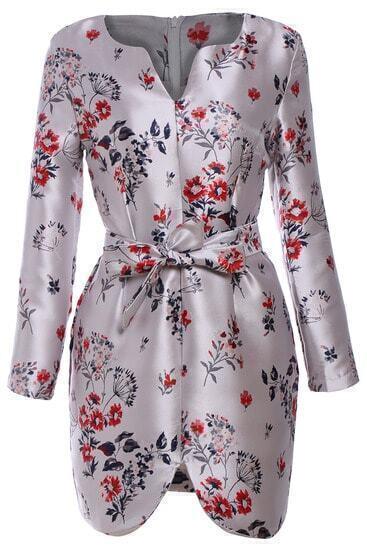 V Neck Cherry Blossoms Print Dress